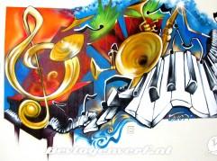 Muzikale graffiti woonkamer
