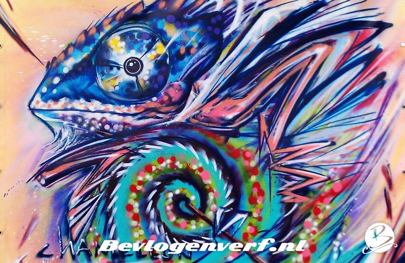 Kameleon op canvas
