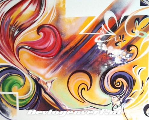 Muurschildering, geel, rood, groen